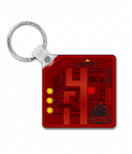 Red Security Key Card Square Keyring Inspired By Doom